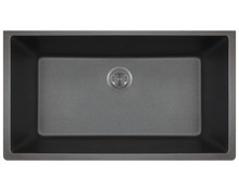 Polaris P848BL Large Single Bowl Undermount AstraGranite Kitchen Sink - Matte Black 32 5/8 in. W