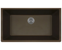 Polaris P848M Large Single Bowl Undermount AstraGranite Kitchen Sink - Matte Mocha 32 5/8 in. W
