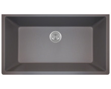 Polaris P848S Large Single Bowl Undermount AstraGranite Kitchen Sink - Matte Silver 32 5/8 in. W