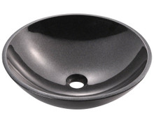 Polaris P058BL Black Granite Bathroom Vessel Sink - Hand Polished, 16 1/2 in.