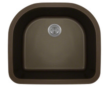 Polaris P428M Mocha D-Shape Undermont AstraGranite Kitchen Sink 24 3/4 in.