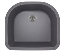 Polaris P428S Silver D-Shape Undermont AstraGranite Kitchen Sink 24 3/4 in.