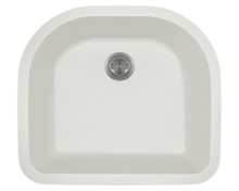 Polaris P428W White D-Shape Undermont AstraGranite Kitchen Sink 24 3/4 in.
