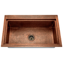 Polaris P519 Single Bowl Dual-Mount Copper Sink - Hammered Copper