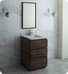 "Fresca FVN3124ACA-FC Formosa 24"" Floor Standing Modern Bathroom Vanity w/ Mirror - Acacia Wood"