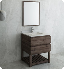 "Fresca FVN3130ACA-FS Formosa 30"" Floor Standing Modern Bathroom Vanity w/ Open Bottom & Mirror - Acacia Wood"