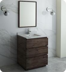 "Fresca FVN3130ACA-FC Formosa 30"" Floor Standing Modern Bathroom Vanity w/ Mirror - Acacia Wood"