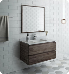 "Fresca FVN3136ACA Formosa 36"" Wall Hung Modern Bathroom Vanity w/ Mirror - Acacia Wood"