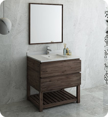 "Fresca FVN3136ACA-FS Formosa 36"" Floor Standing Modern Bathroom Vanity w/ Open Bottom & Mirror - Acacia Wood"