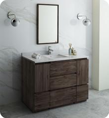 "Fresca FVN31-122412ACA-FC Formosa 48"" Floor Standing Modern Bathroom Vanity w/ Mirror - Acacia Wood"