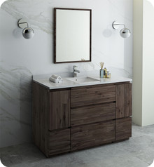 "Fresca FVN31-123012ACA-FC Formosa 54"" Floor Standing Modern Bathroom Vanity w/ Mirror - Acacia Wood"