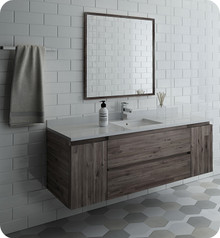 "Fresca FVN31-123612ACA Formosa 60"" Wall Hung Single Sink Modern Bathroom Vanity w/ Mirror - Acacia Wood"