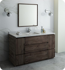 "Fresca FVN31-123612ACA-FC Formosa 60"" Floor Standing Single Sink Modern Bathroom Vanity w/ Mirror - Acacia Wood"