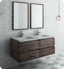"Fresca FVN31-2424ACA Formosa 48"" Wall Hung Double Sink Modern Bathroom Vanity w/ Mirrors - Acacia Wood"
