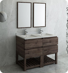 "Fresca FVN31-2424ACA-FS Formosa 48"" Floor Standing Double Sink Modern Bathroom Vanity w/ Open Bottom & Mirrors - Acacia Wood"