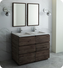 "Fresca FVN31-2424ACA-FC Formosa 48"" Floor Standing Double Sink Modern Bathroom Vanity w/ Mirrors - Acacia Wood"
