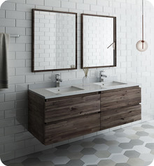 "Fresca FVN31-3030ACA Formosa 60"" Wall Hung Double Sink Modern Bathroom Vanity w/ Mirrors - Acacia Wood"