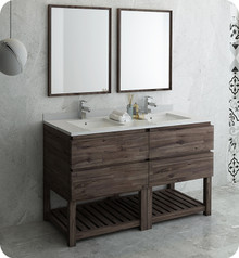 "Fresca FVN31-3030ACA-FS Formosa 60"" Floor Standing Double Sink Modern Bathroom Vanity w/ Open Bottom & Mirrors - Acacia Wood"