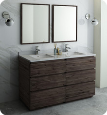 "Fresca FVN31-3030ACA-FC Formosa 60"" Floor Standing Double Sink Modern Bathroom Vanity w/ Mirrors - Acacia Wood"