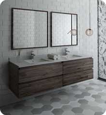 "Fresca FVN31-3636ACA Formosa 72"" Wall Hung Double Sink Modern Bathroom Vanity w/ Mirrors - Acacia Wood"
