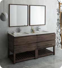 "Fresca FVN31-3636ACA-FS Formosa 72"" Floor Standing Double Sink Modern Bathroom Vanity w/ Open Bottom & Mirrors - Acacia Wood"
