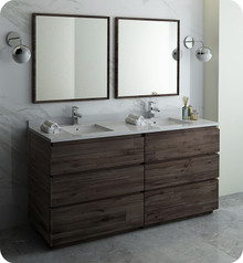 "Fresca FVN31-3636ACA-FC Formosa 72"" Floor Standing Double Sink Modern Bathroom Vanity w/ Mirrors - Acacia Wood"