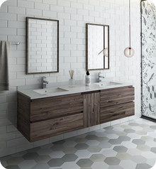 "Fresca FVN31-241224ACA Formosa 60"" Wall Hung Double Sink Modern Bathroom Vanity w/ Mirrors - Acacia Wood"