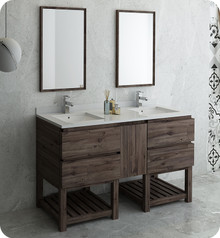 "Fresca FVN31-241224ACA-FS Formosa 60"" Floor Standing Double Sink Modern Bathroom Vanity w/ Open Bottom & Mirrors - Acacia Wood"