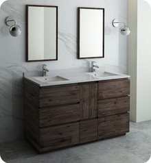 "Fresca FVN31-241224ACA-FC Formosa 60"" Floor Standing Double Sink Modern Bathroom Vanity w/ Mirrors - Acacia Wood"