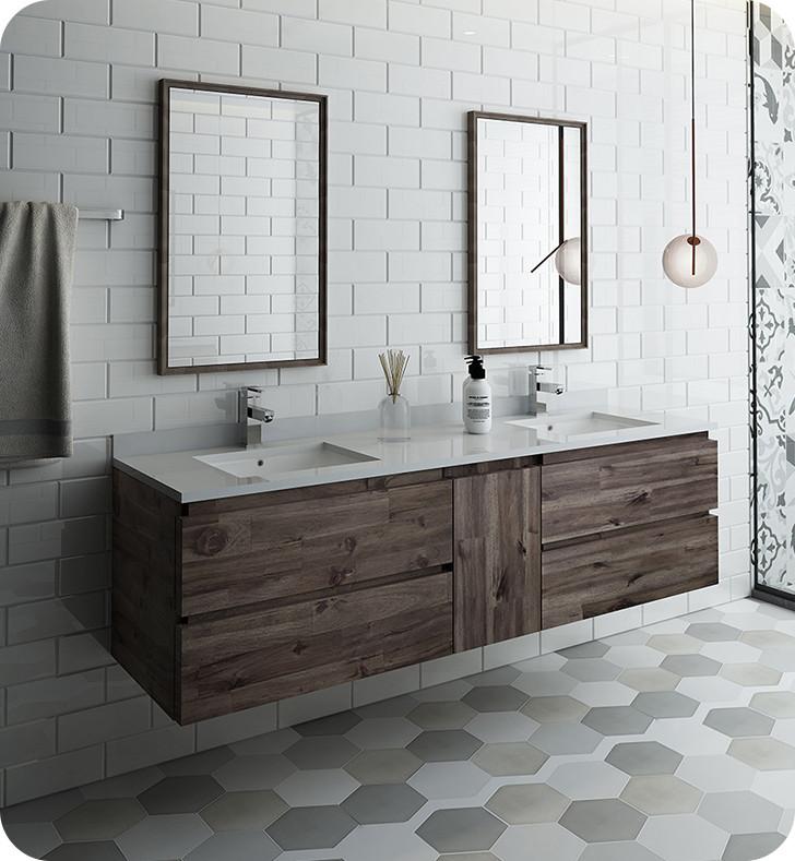 Groovy Fresca Fvn31 301230Aca Formosa 72 Wall Hung Double Sink Modern Bathroom Vanity W Mirrors Acacia Wood Download Free Architecture Designs Xoliawazosbritishbridgeorg