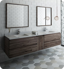 """Fresca FVN31-361236ACA Formosa 84"""" Wall Hung Double Sink Modern Bathroom Vanity w/ Mirrors - Acacia Wood"""