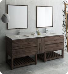"Fresca FVN31-361236ACA-FS Formosa 84"" Floor Standing Double Sink Modern Bathroom Vanity w/ Open Bottom & Mirrors - Acacia Wood"