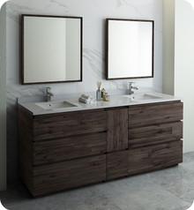 "Fresca FVN31-361236ACA-FC Formosa 84"" Floor Standing Double Sink Modern Bathroom Vanity w/ Mirrors - Acacia Wood"