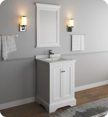 "Fresca FVN2424WHM Windsor 24"" Matte White Traditional Bathroom Vanity w/ Mirror - Matte White"