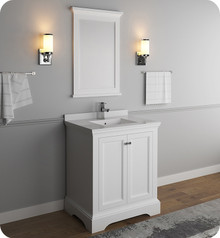 "Fresca FVN2430WHM Windsor 30"" Matte White Traditional Bathroom Vanity w/ Mirror - Matte White"