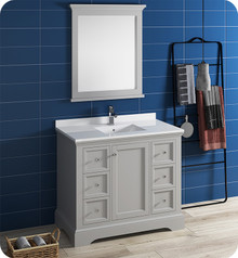 "Fresca FVN2440GRV Windsor 40"" Gray Textured Traditional Bathroom Vanity w/ Mirror - Gray (Textured)"