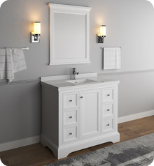 "Fresca FVN2440WHM Windsor 40"" Matte White Traditional Bathroom Vanity w/ Mirror - Matte White"