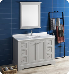 "Fresca FVN2448GRV Windsor 48"" Gray Textured Traditional Bathroom Vanity w/ Mirror - Gray (Textured)"