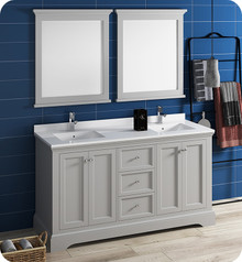 "Fresca FVN2460GRV Windsor 60"" Gray Textured Traditional Double Sink Bathroom Vanity w/ Mirrors - Gray (Textured)"