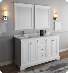 "Fresca FVN2460WHM Windsor 60"" Matte White Traditional Double Sink Bathroom Vanity w/ Mirrors - Matte White"