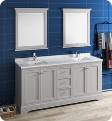 "Fresca FVN2472GRV Windsor 72"" Gray Textured Traditional Double Sink Bathroom Vanity w/ Mirrors - Gray (Textured)"