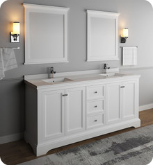 "Fresca FVN2472WHM Windsor 72"" Matte White Traditional Double Sink Bathroom Vanity w/ Mirrors - Matte White"