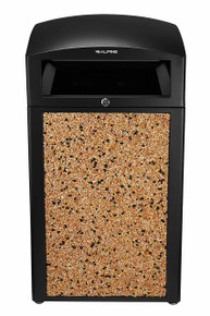 Alpine 472-40-STO Rugged 40-Gallon All-Weather Trash Container  - Stone Panels