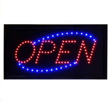 "Alpine 497-03 LED Open Sign, Square, 19"" x 10"" - Black"