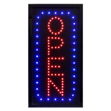 "Alpine 497-04 LED Open Sign, Vertical, 10"" x 19"" - Black"