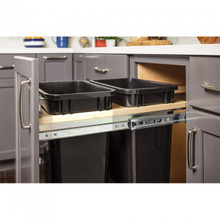 Hardware Resources CAN-TMDSC-15 Top Mount Soft-close Double 35qt Trash Can Unit - for 15 Inch Opening