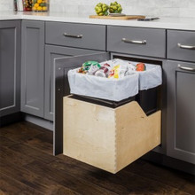 Hardware Resources CAN-WBMS50B Preassembled 50 Quart Single Pullout Waste Container System