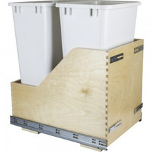 Hardware Resources CDM-WBMD50WH Preassembled 50 Quart Double Pullout Waste Container System