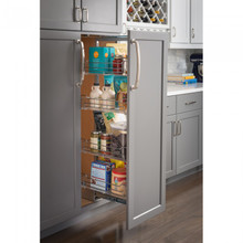 Hardware Resources CPPO1563SC 15 Inch Wide x 63 Inch High Chrome Wire Pantry Pullout with Heavy Duty Soft-close