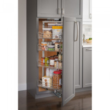 Hardware Resources CPSO1586SC 15 Inch Wide x 86 Inch High Chrome Wire Pantry Pullout with Swingout Feature